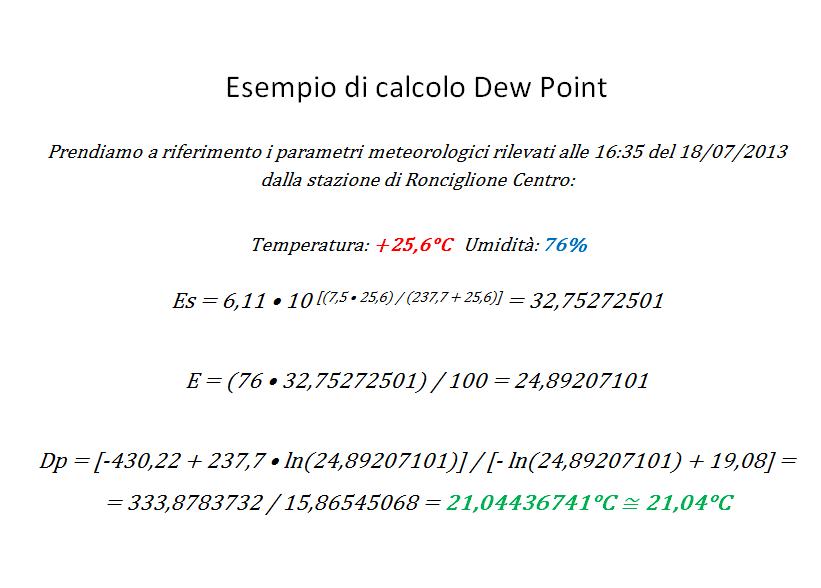 Esempio di calcolo Dew Point