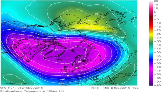 Un'immagine della stratosfera nel Dicembre 2015: temperature ben inferiori ai -80.