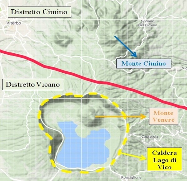 Visione d'insieme dei distretti che formano i Monti Cimini