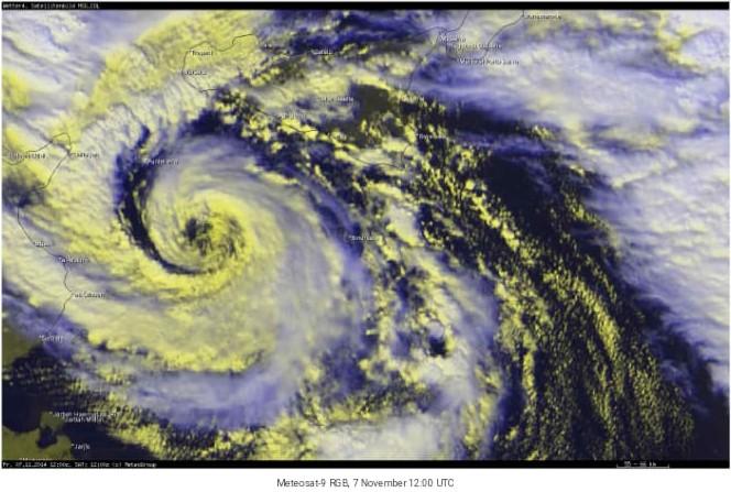 Immagine satellitare del Medicane Qendresa del Novembre 2014.